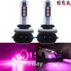 2Pcs 881 889 3030 15SMD LED Fog Light Conversion Kit Super Bright Pink Purple US