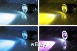 3 Projector Fog Light Lamps with 40-LED Halo Angel Eyes Rings + 10000K HID Combo