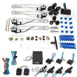 4 Power Roll Up Window Motor & 4Door Lock Conversion Kit Auto Fit Car Truck 12V