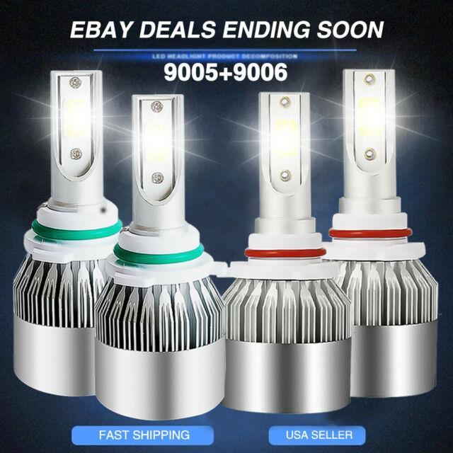4pcs Led Headlight Kit 9005+9006 Bulb Fit Toyota 4runner 2005-2003 Hi/lo Beam