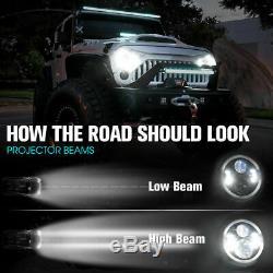7 RGB 144W Halo Ring LED Headlights + Fog Light Fit 2007-2017 JEEP Wrangler 2X