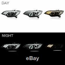 Custom LED Tri-Bar Projector Headlights withDRL + H7 LED Bulbs for 15-20 Honda Fit