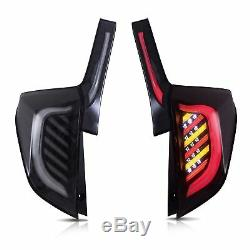 Customized BLACK WHITE LED Taillights withLED REVERSING LIGHTS for 15-19 Honda Fit