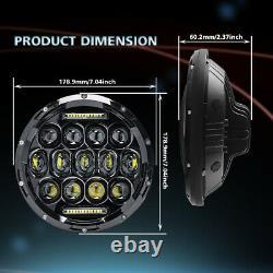 DOT 7'' Round LED Headlights + 4'' Fog Light Kit For 2007-2017 Jeep Wrangler JK