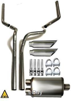 Dual pipes conversion exhaust kit fits 2000 2003 Dodge Dakota trucks 2.5 pipe