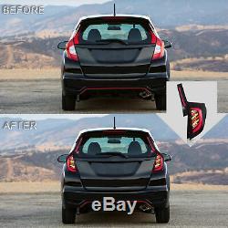 Fiber Optic BLACK WHITE Taillights withLED REVERSING LIGHTS for 15-19 Honda Fit