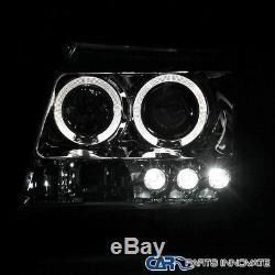 Fit 05-12 Xterra Chrome Halo LED Projector Headlight+H1 6000K HID Conversion Kit
