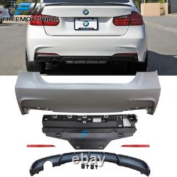 Fit 12-18 F30 320i M Performance Rear Bumper Conversion+Diffuser Single Outlet