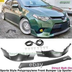 Fit 14-16 Toyota Corolla Sport Style Front Bumper Splitter Spoiler Valance Trim