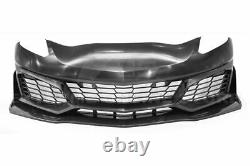 Fit 14-19 C7 Corvette ZR1 Style PU Front Bumper Grille Splitter Lip Full Kit
