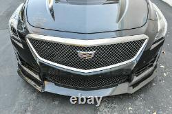 Fit 16-Up Cadillac CTS-V Carbon Fiber Package Front Bumper Lip + Side Skirts