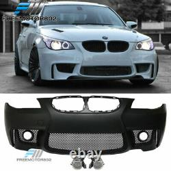 Fits 04-10 BMW E60 5-Series 1M Style Front Bumper Conversion Cover with Fog Lights