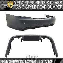 Fits 07-13 Benz W221 S-Class AMG Style Rear Bumper Cover Unpainted With PDC