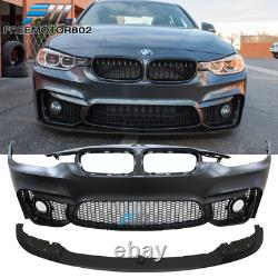 Fits 12-18 BMW F30 3 Series M3 Style Front Bumper Conversion+Lip+ Fog Cover