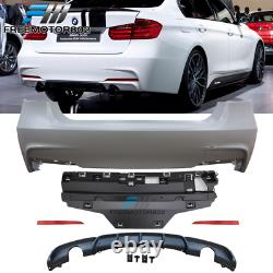 Fits 12-18 F30 4Dr M Performance Rear Bumper Cover Single Muffler Twin Outlet PP