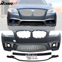 Fits 14-16 BMW F10 LCI M5 Style Front Bumper Conversion Kits With Foglight Cover