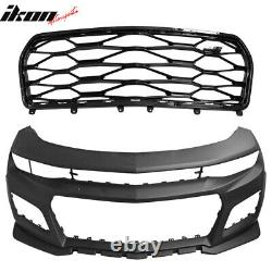 Fits 16-20 Chevy Camaro ZL1 Style Front Bumper Conversion + DRL Fog Lights Pair