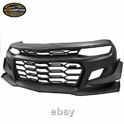 Fits 16-21 Chevy Camaro Coupe 1LE Style Front Bumper Cover Unpainted Black PP
