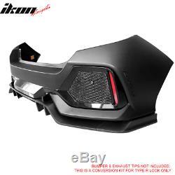 Fits 17-18 Honda Civic Hatchback Type R Rear Bumper Cover Conversion Kit PP