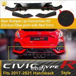 Fits 17-21 Honda Civic Hatchback Type-R Carbon Fiber Red Rear Bumper Lip