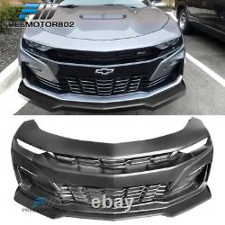 Fits 19-21 Chevy Camaro SS Unpainted Front Bumper PP With Matte Front Lip ABS