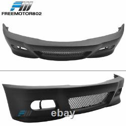 Fits 99-05 BMW E46 3 Series Sedan M3 Style Front Bumper Conversion Cover with Mesh