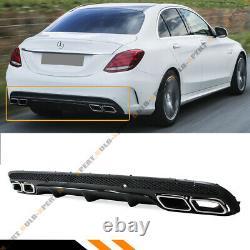 For 15-2020 W205 Sedan C63 Style Blk Rear Bumper Diffuser + Chrome Exhaust Tips