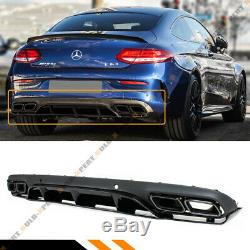 For 17-19 W205 2dr Coupe C63 Edition 1 Style Bumper Diffuser+black Exhaust Tips