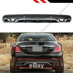 For 2015-2020 W205 4 Door Sedan C63 Style Bumper Diffuser + Chrome Exhaust Tips