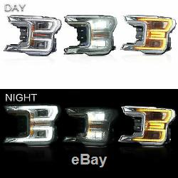 Headlight Fit Ford F150 2018 2019 Full LED Turn Signal Lamp Plating Housing Pair