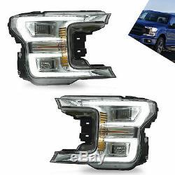 Headlight Fit Ford F150 2018 2019 Full LED Turn Signal Lamp Plating Housing Pair