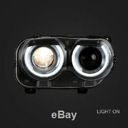 LED DRL Headlights Fit For Dodge Challenger SE R/T 2015-2020 Headlamp L+R