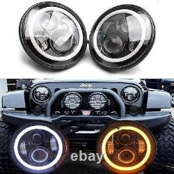 LED Halo Headlights+Fog Light DRL Combo Kit For Jeep Wrangler Patriot 2007-2017