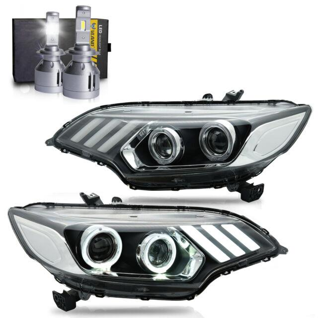 Led Headlights Withdrl Sequential Turn Sig. +vland H7 Led Bulbs For 15-20 Honda Fit