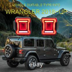 RED CLEAR LED Taillights Set fit 2018-2020 Jeep Wrangler Rear Outer Brake Lamp