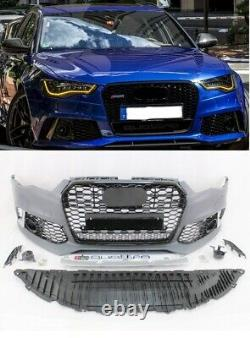 RS6 style front bumper cover spoiler valance grille set fits 2016-2018 A6 S6 C7