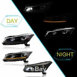 Vland Headlight Fit 2008-2012 Honda Accord Projector Demon Evil Eyes Plug & play