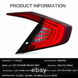 Vland Taillights Assembly Fit 2016-2019 Honda Civic Red Smoked Mounted Lens Lamp