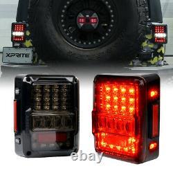 Xprite LED Brake Lights Rear Tail Lamp Smoke Lens for 07-18 Jeep Wrangler JK JKU